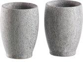 """Borrel glazen van spekteen in cup vorm """"Snapsikivi"""" 2 x 4cl"""