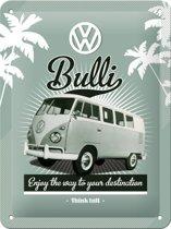 VW Bulli Metalen wandbord in reliëf 30x40 cm