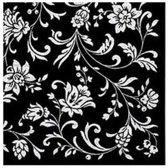 """VOORDEELPAK: 5 Pakjes van Zwarte servetten """"Arabesque Black White-Black"""", 33 cm - verpakking van 20 servietten"""
