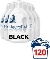 Neutral Zwart Wasmiddel Parfumvrij - 120 wasbeurten - 6 x 1 l