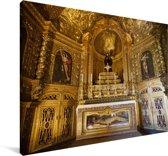 Interieur van het Jerónimos-klooster in Lissabon Canvas 180x120 cm - Foto print op Canvas schilderij (Wanddecoratie woonkamer / slaapkamer) XXL / Groot formaat!