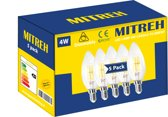 5 X LED 4W (gelijk is aan 50W gloeilamp) Filament Candle E14 Warm wit 3000K Dimmable [Energy Class A+]