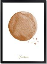 DesignClaud FOLIEDRUK Sterrenbeeld poster Vissen – Bruin A3 + Fotolijst zwart (29,7x42cm)