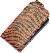 Donker Bruin Zebra Classic Flip case hoesje voor Samsung Galaxy S4 I9500