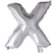 letterballon - 41 cm - zilver - X