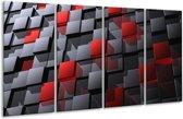 Glasschilderij Modern | Grijs, Rood, Zwart | 160x80cm 4Luik | Foto print op Glas |  F004305