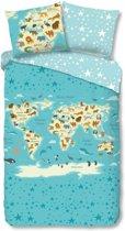 Good Morning New Worldmap - Dekbedovertrek - Eenpersoons - 140x200/220 cm + 1 kussensloop 60x70 cm - Blauw