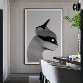 Canvas Schilderij * Abstracte Gestreepte Kat * - Moderne Kunst aan je Muur - Zwart-Wit - 50 x 80 cm