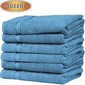 Queens Badhanddoek - 6-pack Handdoeken - 500 gr/m2 - 70x140 cm - Turquoise - Handdoek