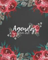 Agenda 2020-2021: Agenda 2020 -2021: Cute Planners / Black & Red roses floral Two Year Daily Weekly planner organizer ( Jan 2020 - Dec 2