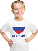 Rusland kinder t-shirt met Russische vlag in hart wit jongens en meisjes XS (110-116)