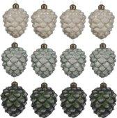 Glas Kerstboomhangers Dennenappels Box 12 Stuks Green White