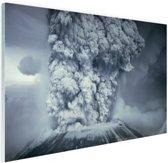 Uitbarsting vulkaan zwart wit Glas 30x20 cm - klein - Foto print op Glas (Plexiglas wanddecoratie)