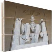 Het bijzondere Lincoln Memorial standbeeld Vurenhout met planken 40x30 cm - klein - Foto print op Hout (Wanddecoratie)