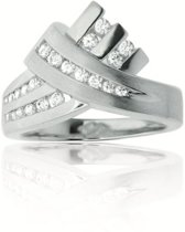 Classics&More Zilveren Ring - Maat 56 - Gerhodineerd Met Zirkonia