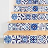 Walplus Spaans Mozaiek - Muursticker/Trapsticker - Blauw - 15x15 cm - 24 stuks