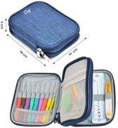 QY luxe Softgrip haaknaaldenset 25-delig met haak& brei accessoires in luxe etui - blauw