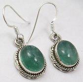 Natuursieraad -  925 sterling zilver groen apatiet oorhangers - luxe edelsteen sieraad - oorbellen