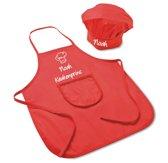 Mijncadeautje- Peuter keukenschort en koksmuts - met naam naar keuze - 100% katoen - rood