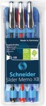 Balpen Schneider Slider Memo XB 1,4mm kogelbreedte, etui a 3 stuks
