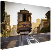 Tram San Francisco Canvas 30x20 cm - klein - Foto print op Canvas schilderij (Wanddecoratie woonkamer / slaapkamer) / Steden Canvas Schilderijen