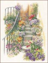 borduurpakket PN0169680 trap met bloemen