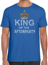 Toppers - Blauw King of the afterparty glitter steentjes t-shirt heren - Officiele Toppers in concert merchandise S