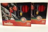 Kerstboomkaarsjes Bolsius 97/13 kleur rood - 40 stuks in 2 verpakkingen