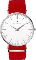 Wallace Hume Klassiek Wit - Horloge - Perlon - Rood