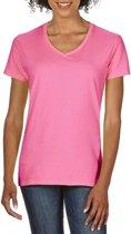 Basic V-hals t-shirt licht roze voor dames - Casual shirts - Dameskleding t-shirt roze XL (42/54)