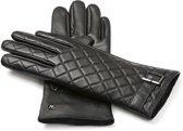 NapoELEGANT Echt lederen touchscreen handschoenen Zwart maat L