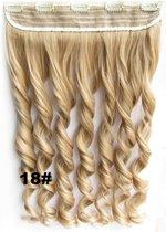Clip in hair extensions 1 baan wavy blond - 18#