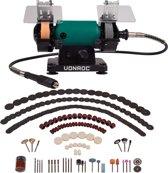 VONROC Tafelslijpmachine / Multitool 150W – 75mm met flexibele as – Incl. 192 accessoires