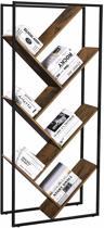 Moderne Boekenkast met Schuine Legplanken - Industriële Sfeer - 76.3 x 33.6 x 178.5 cm