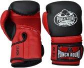 Punch Round Bokshandschoenen Combat Sport Carbon Zwart Rood 14 OZ Bokshandschoenen
