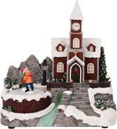 Kerstdorp met Kerk - met verlichting en beweging