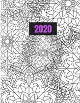 2020: Mandala Coloring Planner Calendar, Monthly Calendar Schedule Organizer with Coloring Pages, Notes, & Inspirational Quo