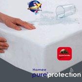 Homéé ® Waterdicht Molton PU Hoeslaken Flanel -180x220+40cm - Matrasbeschermer 100% geruwd katoen 180 g. p/m² - wit
