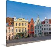 Kleurrijke huizen in het Stadshart van Tallinn Canvas 60x40 cm - Foto print op Canvas schilderij (Wanddecoratie woonkamer / slaapkamer)