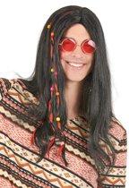 Zwarte hippiepruik voor volwassenen. - Verkleedpruik