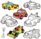 Zonnevangers raceauto voor kinderen. Leuke knutsel- en decoratiesets voor jongens en meisjes (8 stuks per verpakking)