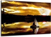 Canvas schilderij Boot   Bruin, Geel, Zwart   140x90cm 1Luik