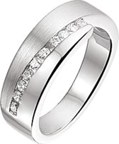 The Jewelry Collection Ring Zirkonia Poli/mat - Zilver Gerhodineerd