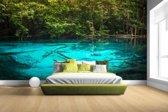 Helderblauw meer in de jungle Fotobehang 380x265
