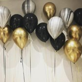 Luxe Ballonnenset 15 Stuks Goud Zwart  Zilver Marmer - Helium Ballonnen Chrome Metallic Marmer Ballonnen Feestje Verjaardag Party