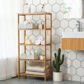 Badkamer Rek met 5 Etages – Opbergrek met Verstelbare Planken – 130 cm Hoog en 60 cm Breed – Bamboe