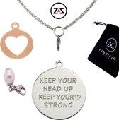 Pinkiezz munt ketting hart 'Keep Head Up'