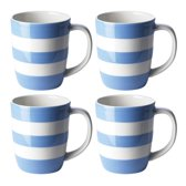 Cornishware Blue Mugs mok 12 Oz 34 cl (set van 4)