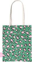 BEACHLANE - Katoenen tasje - Canvas Tote Bag Shopper - Luipaard / Leopard print Groen - Schoudertas / Boodschappen tas