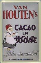 Van Houten Cacao Chocolade reclame Meisje reclamebord 10x15 cm